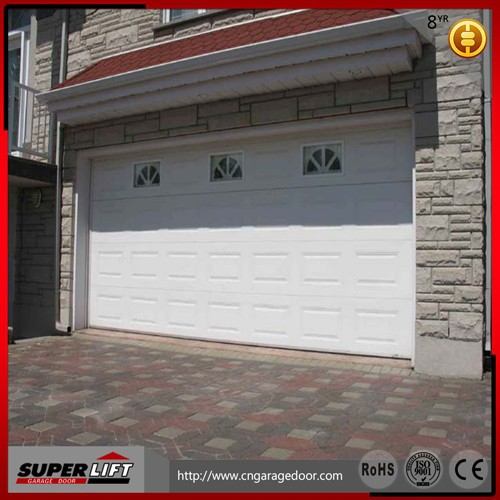 Garage security door panel with round window
