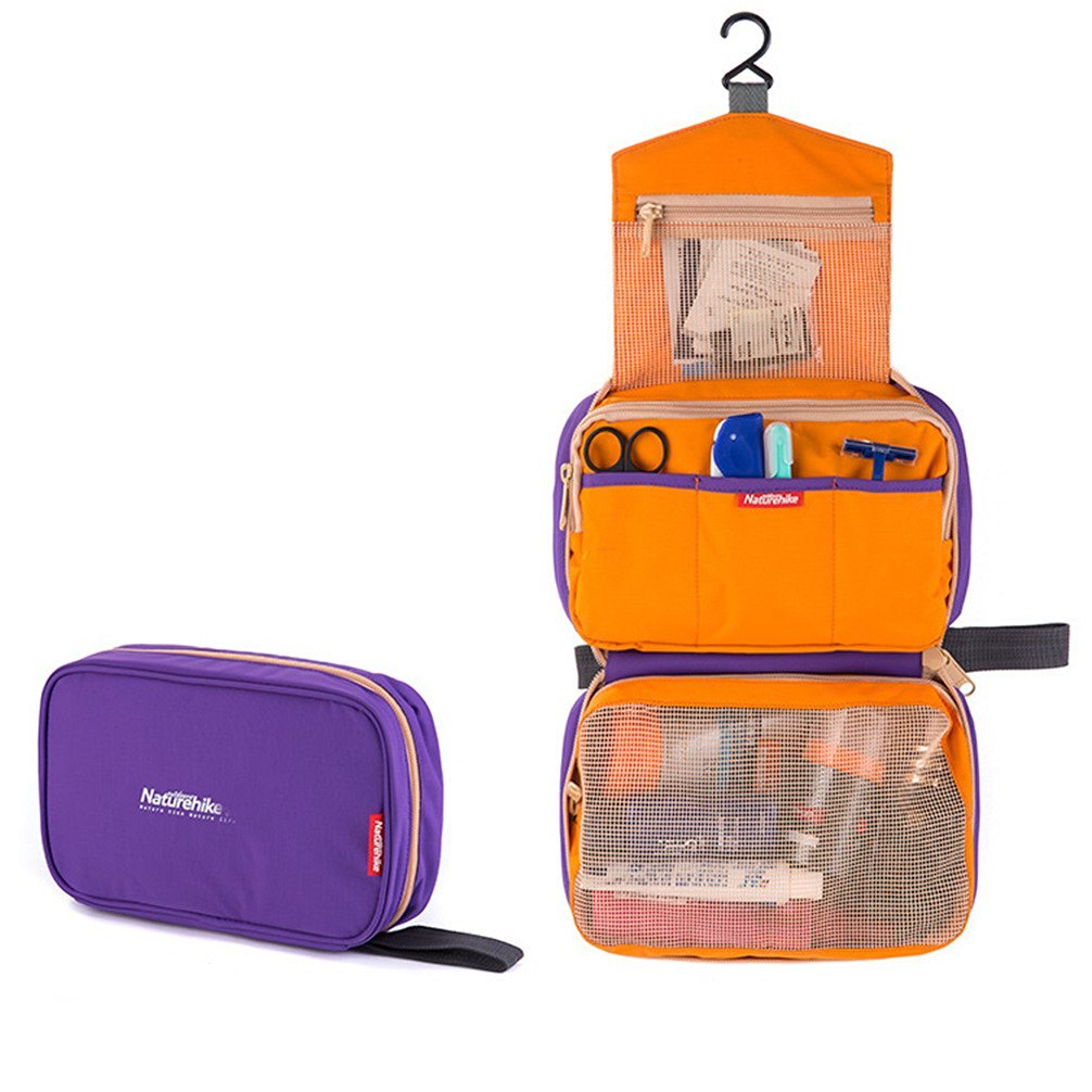 Airstomi Women's Men Practical Waterproof Travel Toiletry Bag Multifunctional Wash Storage Cosmetic Organizer Makeup Case Bag - Purple
