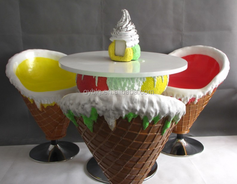Ice Cream Shop Theme Furniture Table And Chairs, Children Entertainment  Furniture