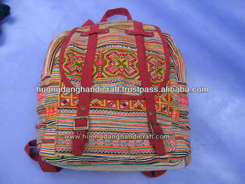 Ethnic Fabric Embroidery Backpack -100% Handmade From Vietnam-Best Products  For Fashion 1be9f9e7b1a1e