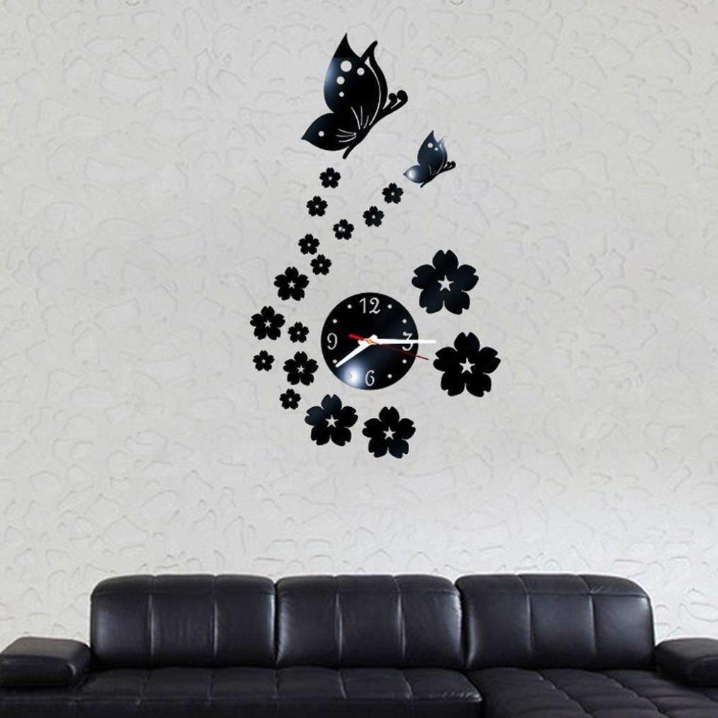 Rumas Butterfly Removable Diy Acrylic 3D Mirror Wall Sticker Decorative Clock (Black)
