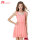 JS 20 Pink Color Lovely Point Print Dress Korean New Fashion Lady Open Back Dress 1151
