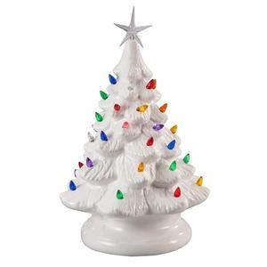 Porcelain Ceramic Christmas Tree Night Light Lamp With Multicolor Bulbs
