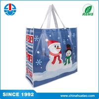 Fugang Wholesale Snowman Pattern Printing Plastic Non Woven Lamination Tote Bag