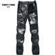 Men black Leather Trousers zipper design Leather casual pant straight-legged trousers