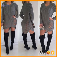 MultiColors sweater dresses Factory direct wholesale and OEM leisure fashion Hole knitting loose sweater dress for women