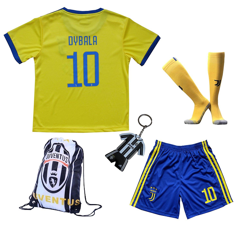 b168ea64f Get Quotations · 2017 2018 Juventus Away  10 DYBALA Football Futbol Soccer  Yellow Kids Jersey Shorts Socks