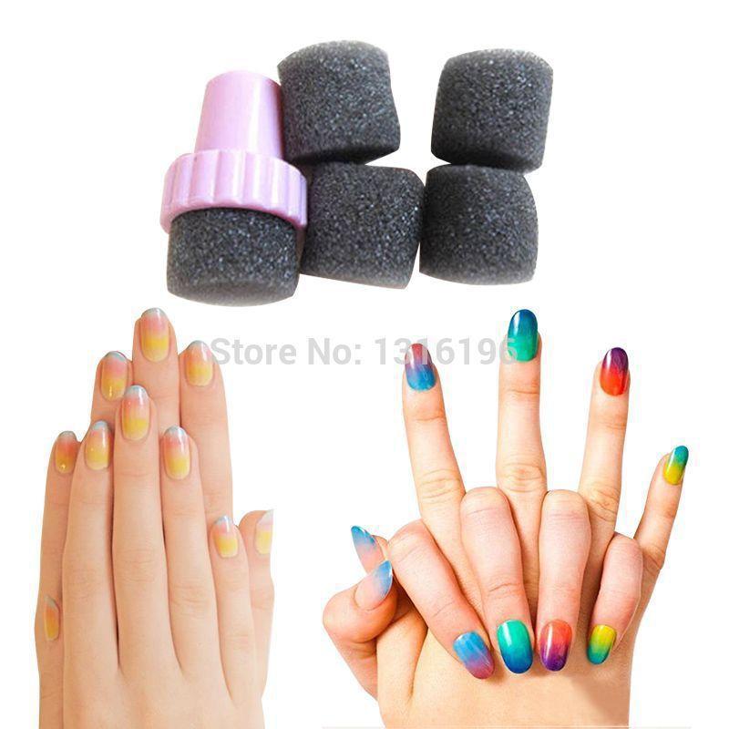 Buy 5 Magic Nail Art Sponge Gradual Color Stamper Polish Sponge Nail ...
