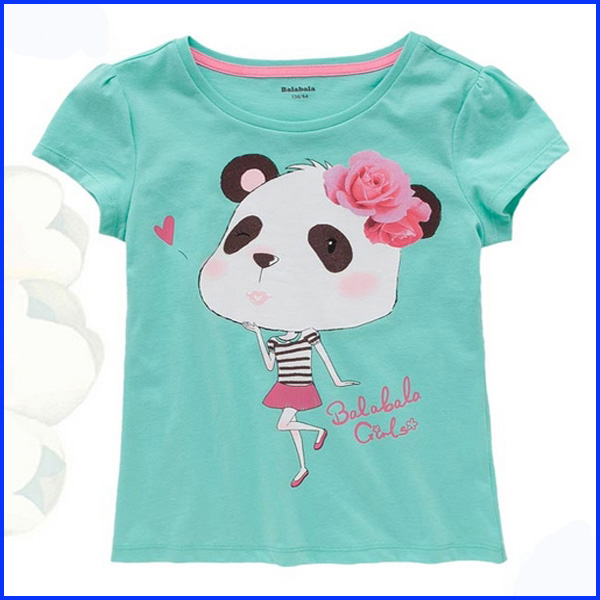Printing lovely cartoon latest fashion 1 dollar youth girls' kids' t shirt