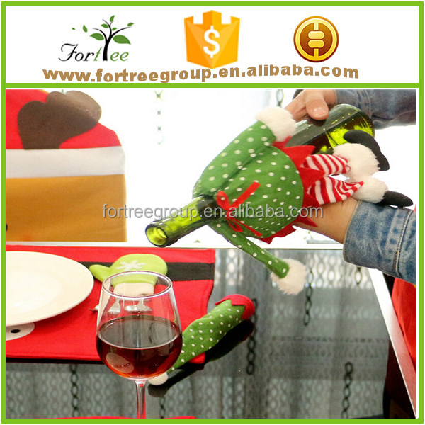 fashion christmas beer wine bottle cover decoration