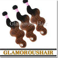 Machine made weft ombre colored brazilian hair weave