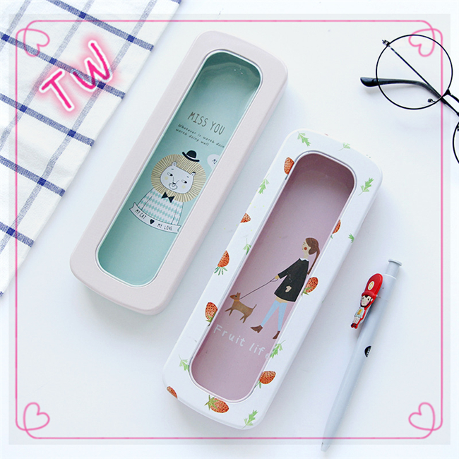 Japanese New Fashion Pencil Case For Kids Creative Stationery Simple Fashion Metal Material Pen Bag Box