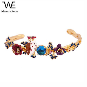 French Romance Environmental Alloy Jewelry Flower Plant Owl Colorful Hand Painted Enamel Bangle Bracelet for Women