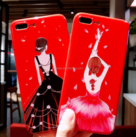 Pretty Creative Premium Red Dress Sexy Girl Pattern Soft TPU Silicone Gel Rubber Protective Phone Back Cover Case For iPhone X