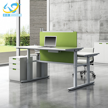 High Tech Adjustable Office Desk Modern Two Person Sit Standing