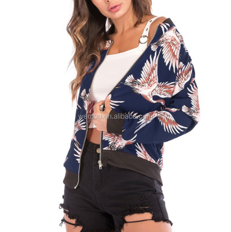 Wholesale Casual Floral Print Coat Pocket Women Jacket Long Sleeve Baseball Coats