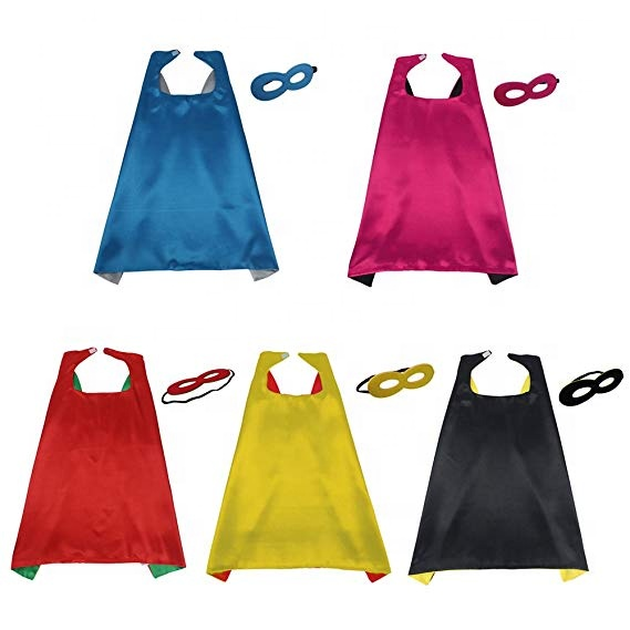 70*70 cm new design double layer wholesale <strong>superhero</strong> <strong>cape</strong> and mask <strong>superhero</strong> <strong>kids</strong> <strong>capes</strong>