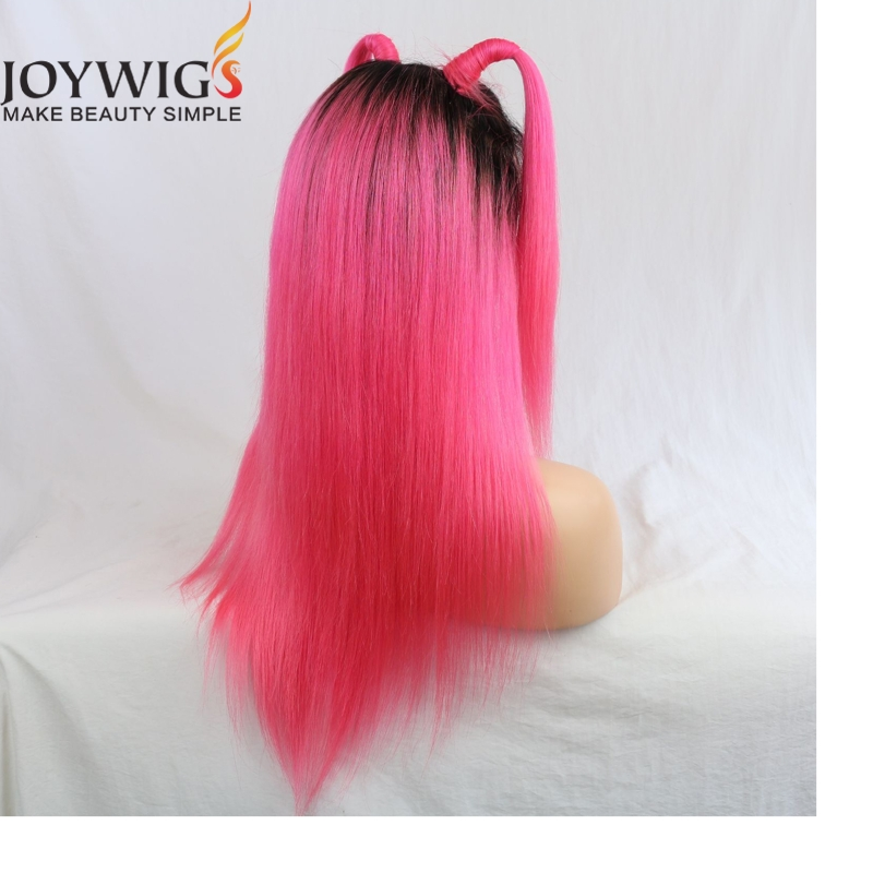 Cuticle aligned hair ombre color pink human hair full lace wig