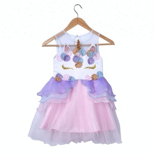 In Stock New Summer Embroidery Flower Girls Party Unicorn Princess Dress