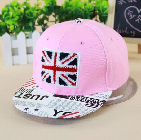 UK flag newspaper style embroidery lovely cute Baseball hats hiphop children child baby sports snapback kids caps