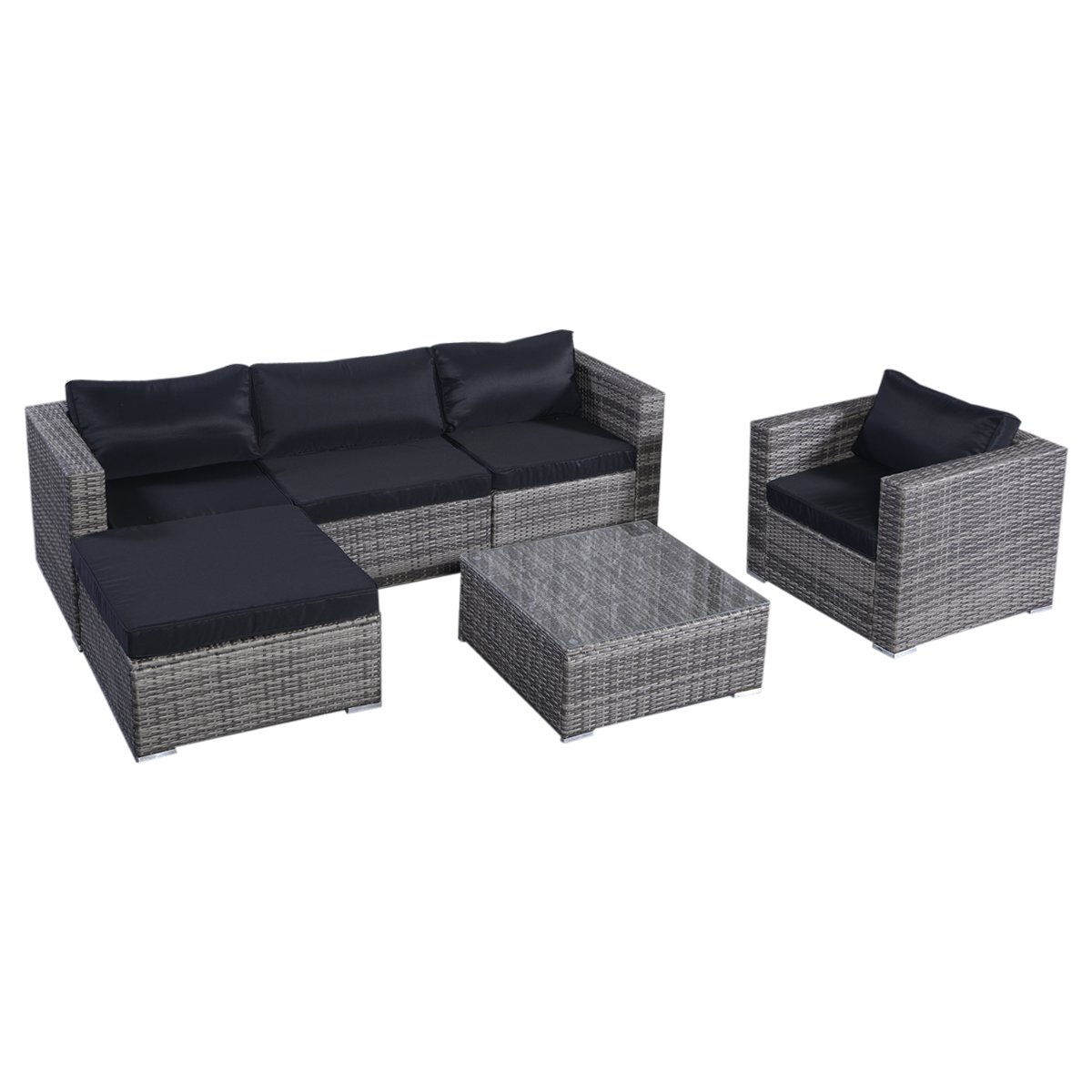 TANGKULA Patio Furniture Set 6 Piece Outdoor Lawn Backyard Poolside All Weather PE Wicker Rattan Steel Frame Sectional Cushioned Seat Sofa Conversation Set (Gradient Gray with Black Cushion Cover)