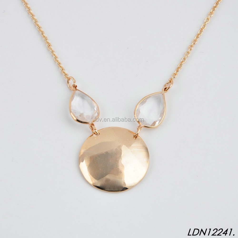 Quartz ornament gold smooth disk pendant necklace for monogram