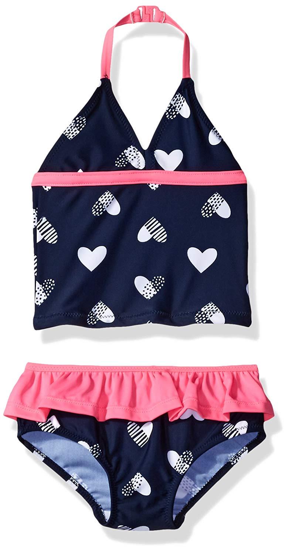 eKooBee Newborn Infant Baby Girls Swimwear One Piece Polka Dot Navy Pink