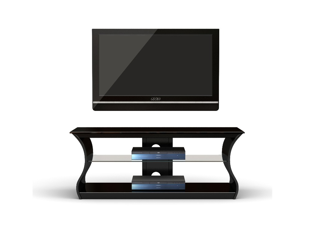 black tempered glass top iron TV stand design bentwood tv stand