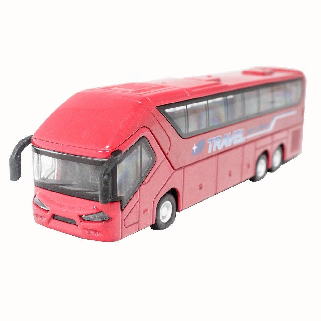 1:50 Die-Cast Coach Metro Travel Bus Red Color Pull Back Sound Light(L x W x H),20.5cm x 6cm x 4.5cm