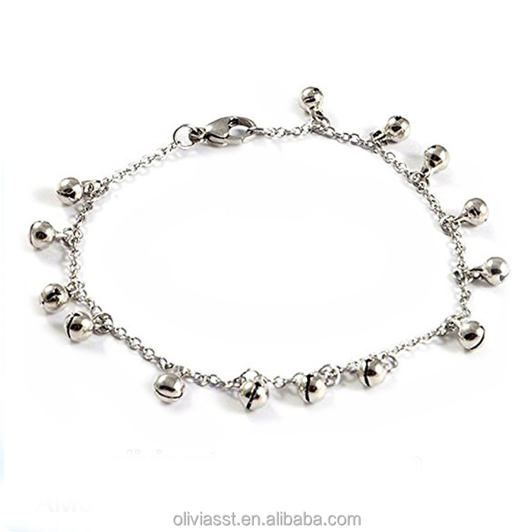 Olivia Fine Jewelry Foot Chain Anklet Surgical Steel Fashion Bell Anklets Indian Silver Anklets With Bells