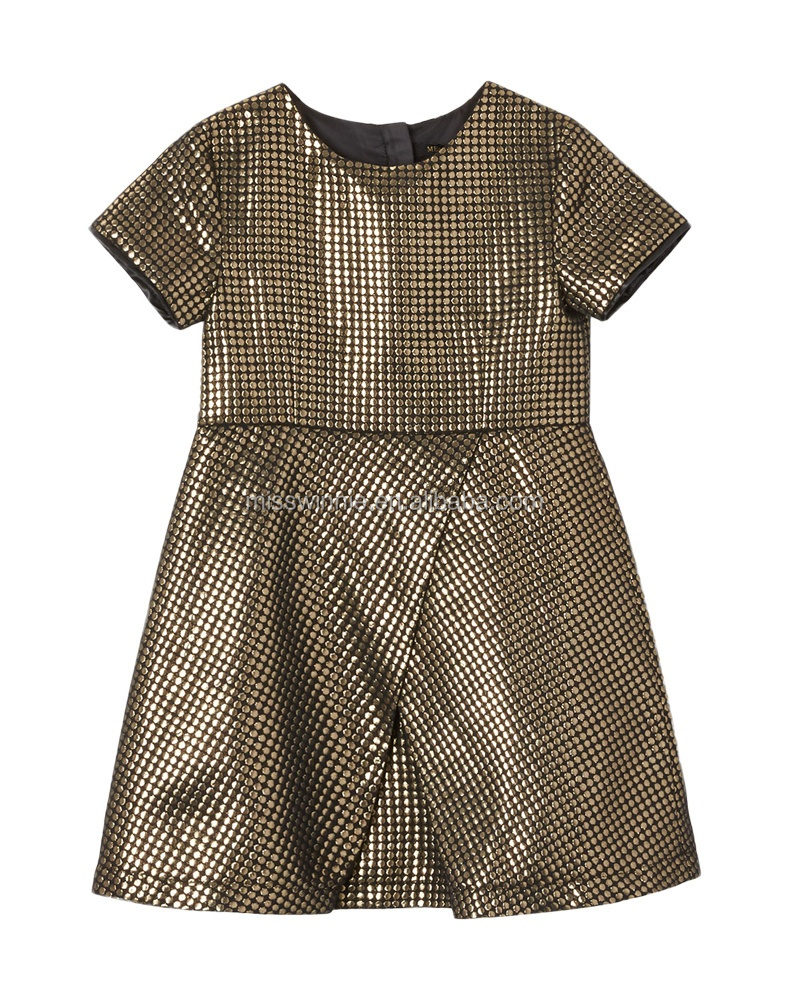 2018 new design kids girl summer dress gold jacquard A shape European style new fashion clothing in girl