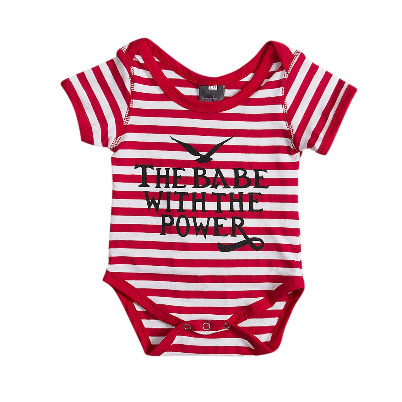 Infant Girls Boys Clothes Striped Romper Letter Print Jumpsuit Overall Outfit Set 0-18M (0-3M)
