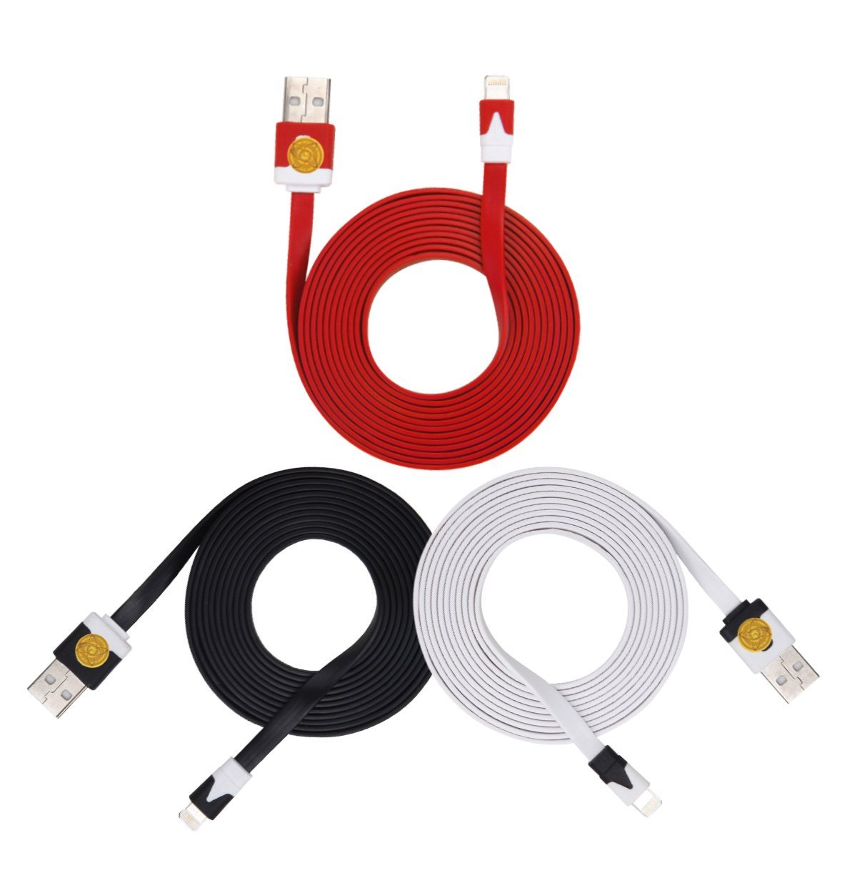 2M Heavy Duty Flat Noodle Lightning USB Cable for Apple iPhone 6,6S -Blk Red Wte