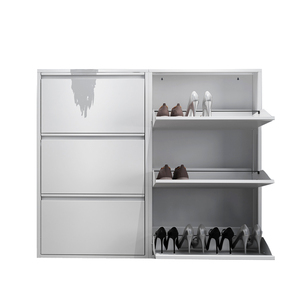 White Powder Coated Home Shoe Bench Metal Shoe Rack Cabinet