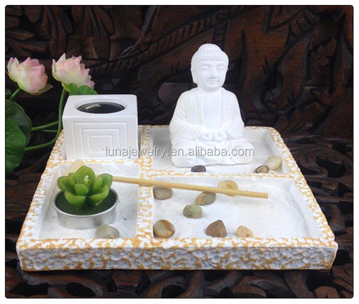 White Buddha Mini Zen Garden ,Asian Japanese Fengshui Zen Garden