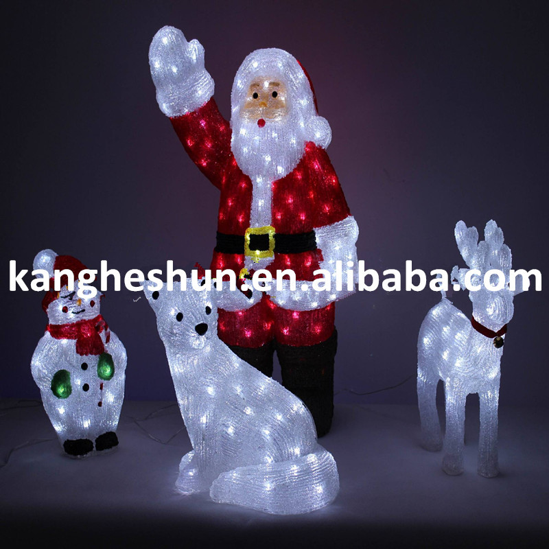 Outdoor Christmas Decoration Lights Led 3d Reindeer With Sleigh Light