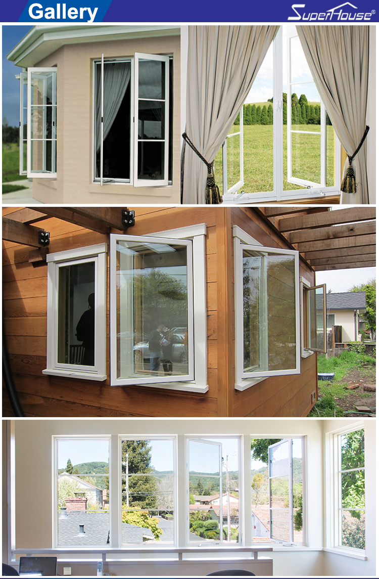 AAMA MIAMI DADE standard aluminium clad wood crank casement window with decorative bar for house energy rating