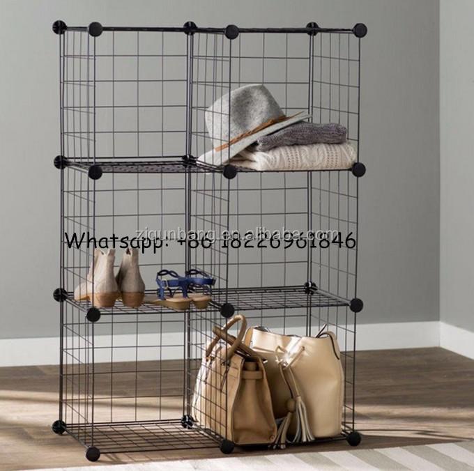 Stackable Black Wire Storage Cubes/Metal Display Rack