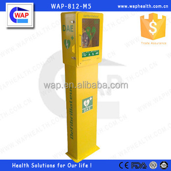 AED Stainless Steel Floor Stand Cabinet With Alarm AED Defibrillator Cabinet  With Stand