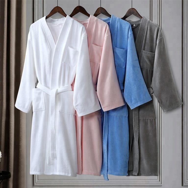 4c06bbd1f0df0 Vente chaude de luxe homme/femme blanc coton éponge hôtel kimono peignoir