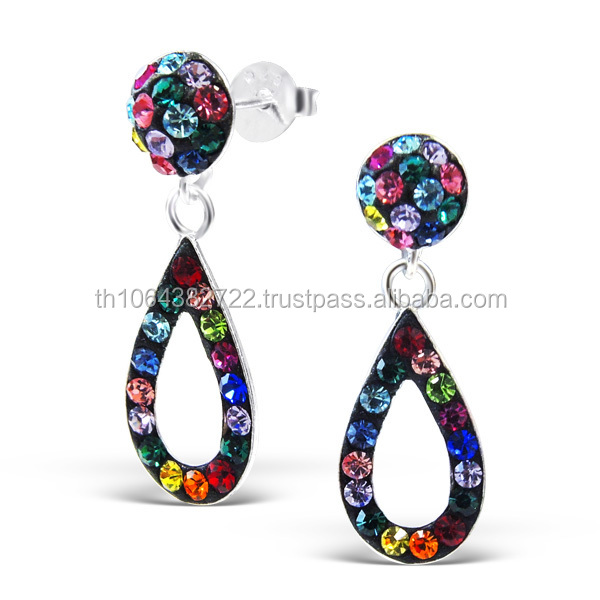 Drop Earrings Semi-Precious Crystal Stones Ear Piercing Stud Earrings Wholesale Cheap Price