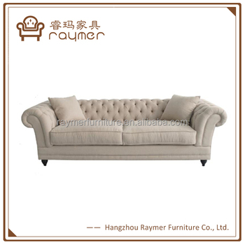 Classic French Living Room Tufted Linen Fabric Chesterfield Sofa