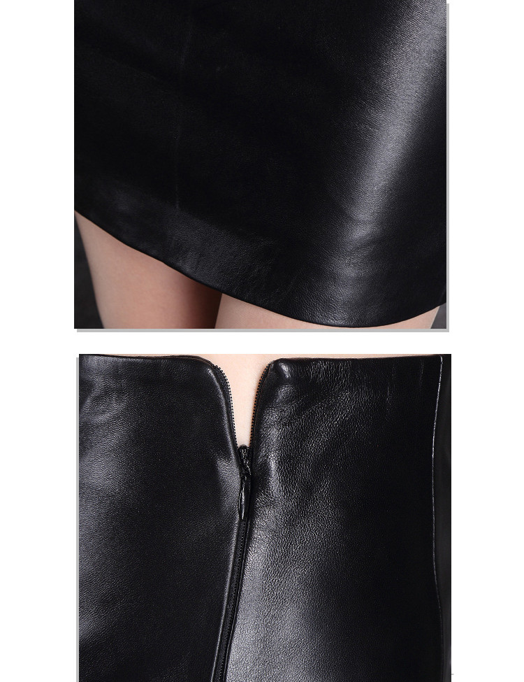 New Products Pleated Genuine Leather Skirt for Ladies Direct Manufacturer