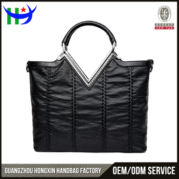 Made In China Quality Channel V Shape Tote Bag Oliy Leather Bags Women Handbags