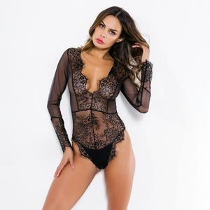 YICAI Black Long Sleeve Sexy Women Tube Sexy Lace Lingerie Of Brazil Hot Women China Lingerie Manufacturers