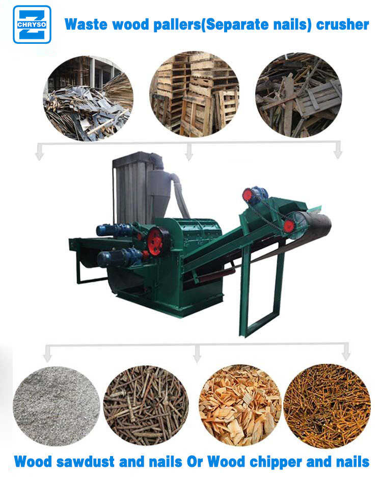 Automatic Wood Pallet Crusher With Meganet For Removing Metal
