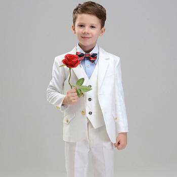 ed60e7838 Designer 3 Piece Fashion Formal White Flower Kids Boys Slim Fit Suit ...