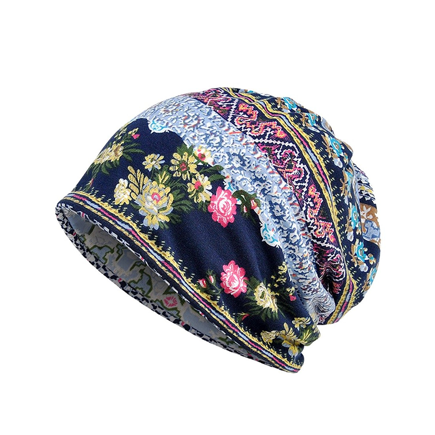 Chemo Cap Womens Soft Printed Beanie Sleep Turban Hat Headwear for Cancer Patients
