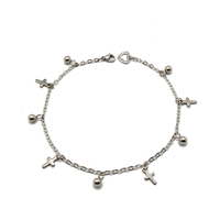 Fashion accessories summer design stainless steel feet jewelry chain small cross charms silver anklet