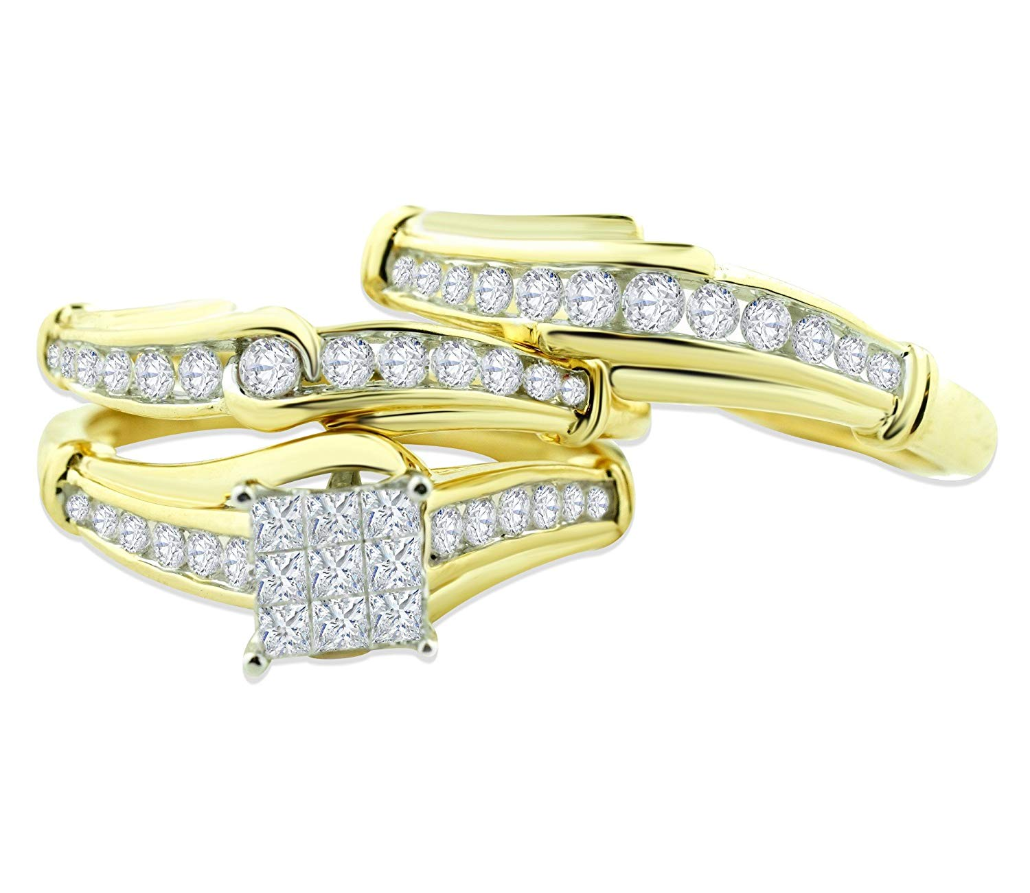aa5320f681 Get Quotations · Midwest Jewellery 14K Gold Trio Rings Set His and Her Rings  Set 1.00ctw Diamonds Princess